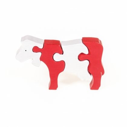 Puzzle 3D Kuh stehend, weiss, rot