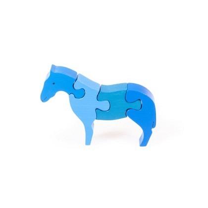 Puzzle 3-D Pferd stehend, blau