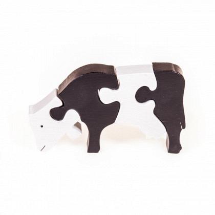 Puzzle 3-D Kuh fressend, weiss / schwarz