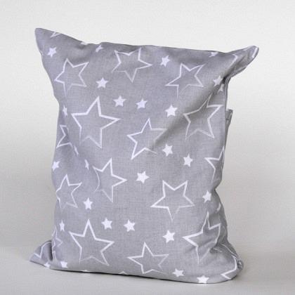 Kirschkernkissen Sterne grau / weiss