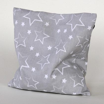 Traubenkernkissen Sterne grau / weiss